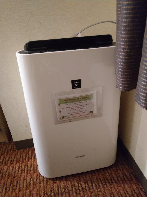 博多グリーンホテル2号館の館内と部屋を写真で紹介-空気清浄器